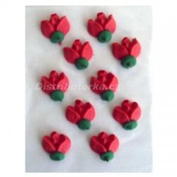 Cukrové květy - Růže červené 10 ks