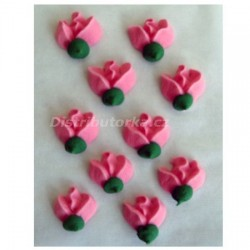 Cukrové květy - Růže růžové 10 ks