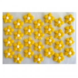 Cukrové kytičky - Jiřiny žluté 28 ks