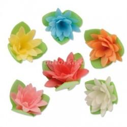 Oplatkové květy s lístky - barevný mix 100 kusů